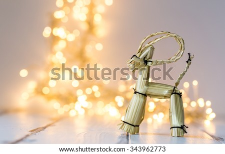 christmas decoration in front of xmas lights - stock photo