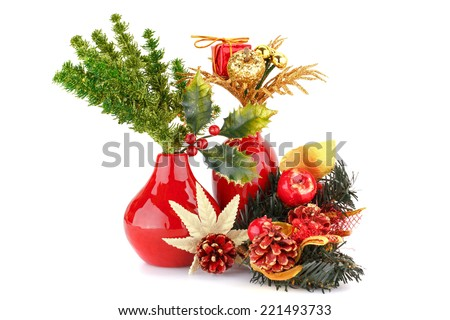 Christmas decoration in red vases isolated on white background. - stock photo