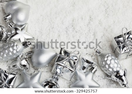 christmas decoration, in snow, gift box, star - stock photo