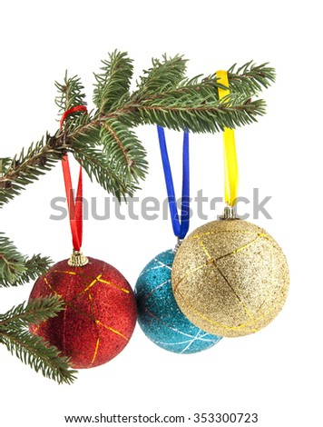 Christmas decoration isolated on the white - stock photo