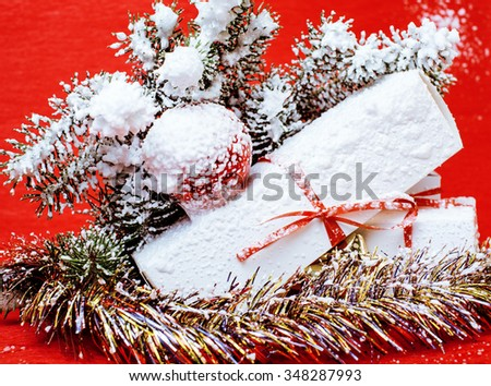 christmas decoration isolated , white background for post card greetings, toy design on tree macro, gifts - stock photo