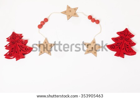 christmas decoration isolated , white background for post card greetings, toy design on tree macro vintage stylish red - stock photo