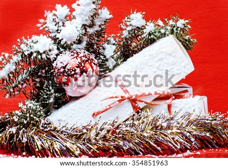 christmas decoration isolated , white background for post card greetings, toy design on tree macro, gifts staff - stock photo