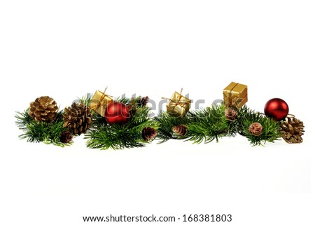 Christmas decoration of Christmas trees, gifts, cones on a white background - stock photo