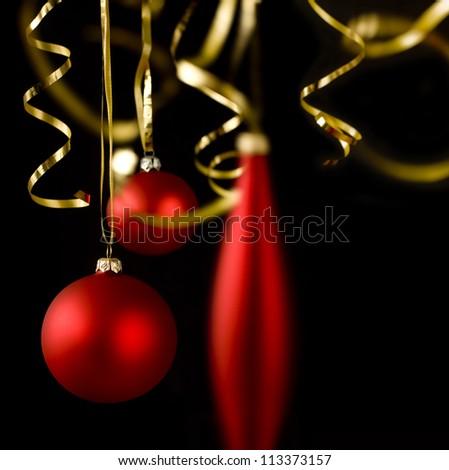 christmas decoration on black background - stock photo