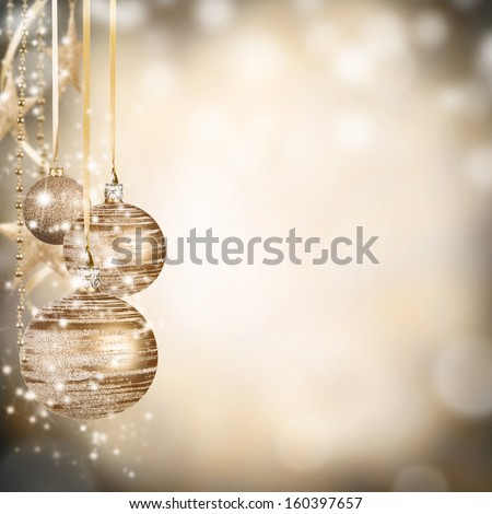 Christmas decoration on blur gold background - stock photo