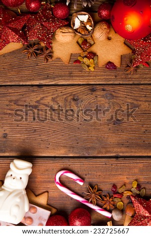 Christmas decoration on brown natural wooden table - stock photo