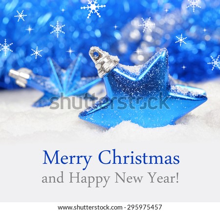 Christmas decoration on defocused lights background with snowflakes. Merry Christmas card. - stock photo