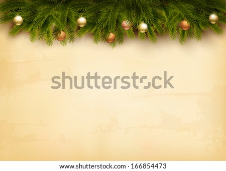Christmas decoration on old paper background. Raster version - stock photo
