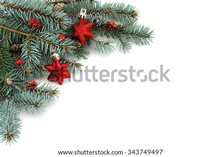 Christmas decoration on the corner of white background - stock photo