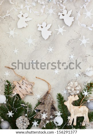 Christmas decoration on the grey cracked stone background - stock photo