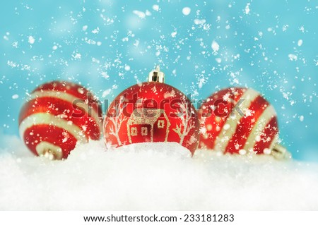 Christmas decoration on the snow. - stock photo
