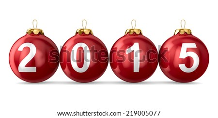 Christmas decoration on white background. 2015 year. Isolated 3D image - stock photo