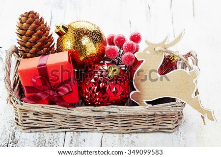 Christmas decoration on  white vintage background - stock photo