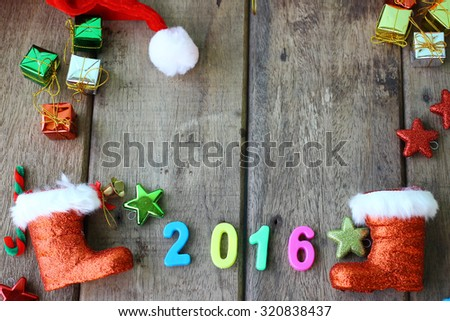 Christmas decoration on wooden background and copy space  - stock photo
