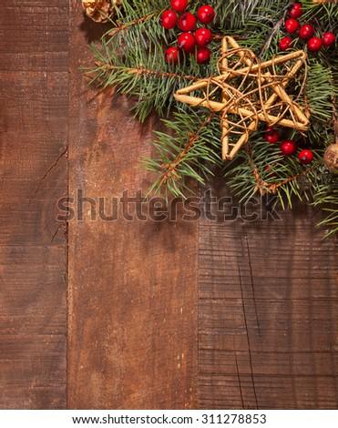 Christmas decoration on wooden plank. - stock photo