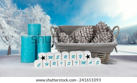 Christmas decoration outdoor with snow - stock photo