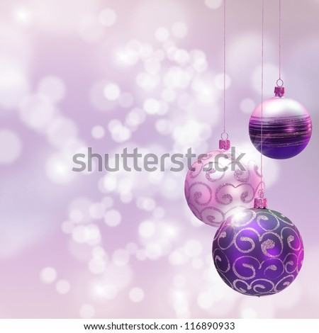 Christmas decoration over blured shiny background. Space for text. - stock photo