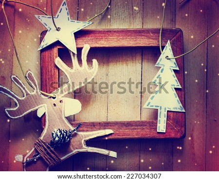 Christmas decoration over grunge background/ vintage christmas card - stock photo