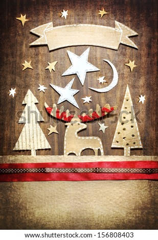 Christmas decoration over grunge background/vintage paper christmas card - stock photo