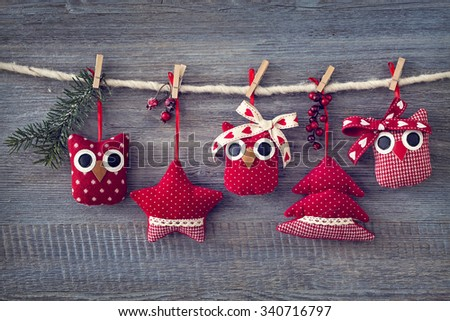Christmas decoration over wooden background - stock photo