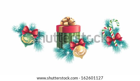 Christmas decoration set, design elements isolated on white background - stock photo