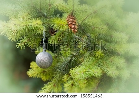 Christmas decoration - silver bauble - stock photo