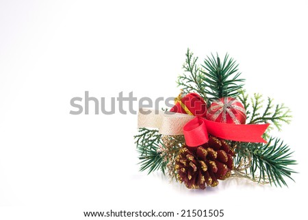 christmas decoration with a pine cone - stock photo