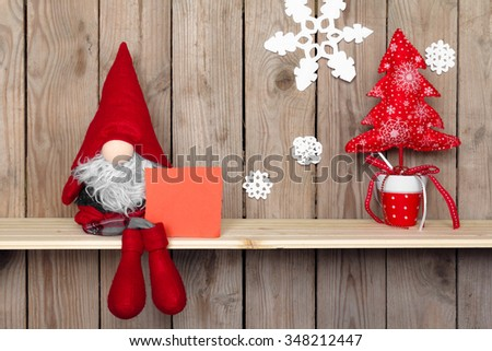 christmas decoration with antique toy over wooden background. retro style picture - stock photo