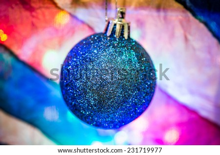 Christmas decoration with balloons on multicolour background - stock photo