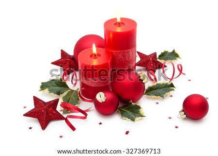 Christmas decoration with candle isolated on white background. - stock photo