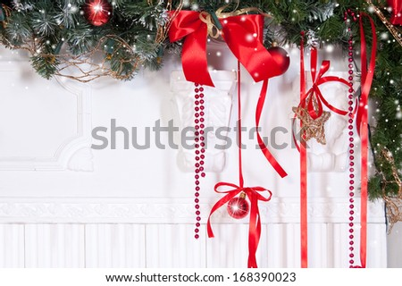 Christmas decoration with Christmas tree, balls and ribbons - stock photo
