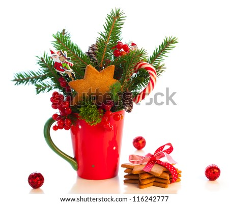 Christmas decoration with cookies  in cup - stock photo