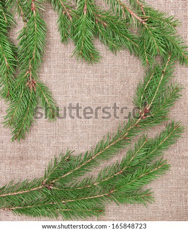 Christmas decoration with fir branches on burlap  - stock photo