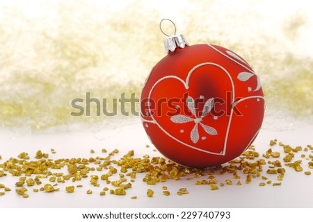christmas decoration with glitter ball - stock photo