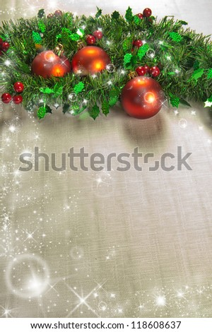 Christmas decoration with holly, seasonal background for greeting cards - stock photo