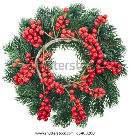 Christmas decoration with natural red berries isolated on white background - stock photo