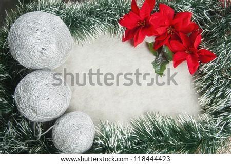 Christmas decoration with poinsettia - stock photo