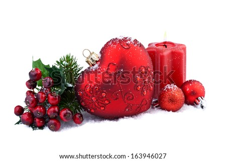 christmas decoration with red heart - stock photo