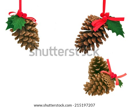 Christmas decoration with ribbons and balls - stock photo