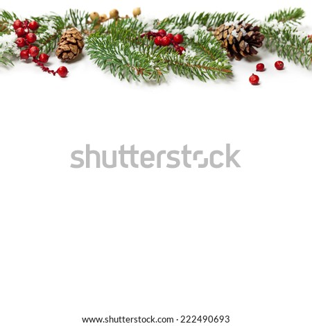Christmas Decoration with snow. Holiday Decorations Isolated on White Background. Selective focus. - stock photo