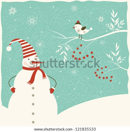 Christmas decoration with snowman  and bird on blue background. - stock photo