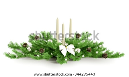 Christmas decoration with three candles isolated 3d rendering - stock photo