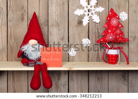 christmas decoration with vintage plush toys. retro style picture - stock photo