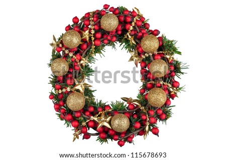 Christmas decoration wreath with golden balls isolated on white background - stock photo