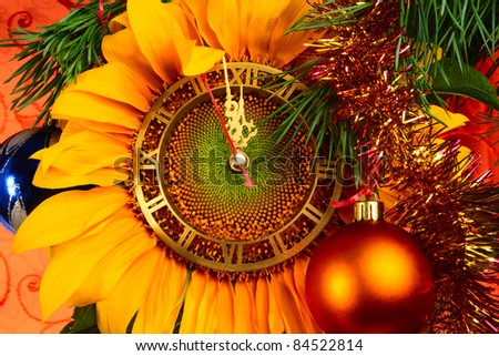Christmas decorations and clock - stock photo