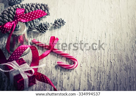 Christmas decorations and gifts in vintage style / toned pictures - stock photo