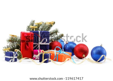 Christmas decorations and gifts on a white background. - stock photo