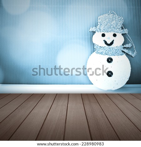 Christmas decorations and wooden floor - stock photo