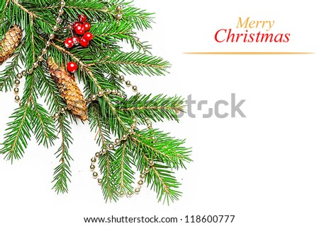 Christmas Decorations border  - beads; berry, con on fir tree branch - stock photo